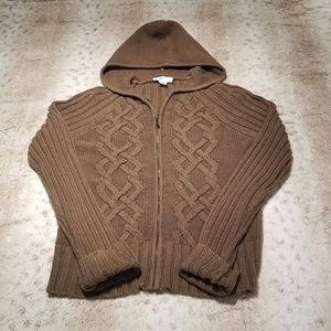 Ann Taylor LOFT Brown Cable Knit Zip up Sweater